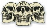 Vintage Biker 3 Gothic Skulls Year Dated Skull 1976 Cafe Racer Helmet Vinyl Car Sticker 120x70mm